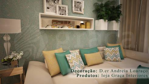 Projecto de Decoração sala by Andreia Louraço Design e Interiores: Salas de estar modernas por Andreia Louraço - Designer de Interiores (Contacto: atelier.andreialouraco@gmail.com)