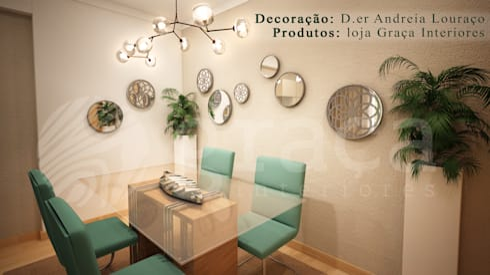 Projecto de Decoração sala by Andreia Louraço Design e Interiores: Salas de jantar modernas por Andreia Louraço - Designer de Interiores (Contacto: atelier.andreialouraco@gmail.com)