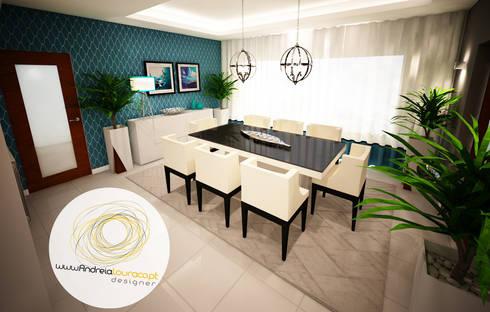 Sala azul: Salas de jantar modernas por Andreia Louraço - Designer de Interiores (Contacto: atelier.andreialouraco@gmail.com)