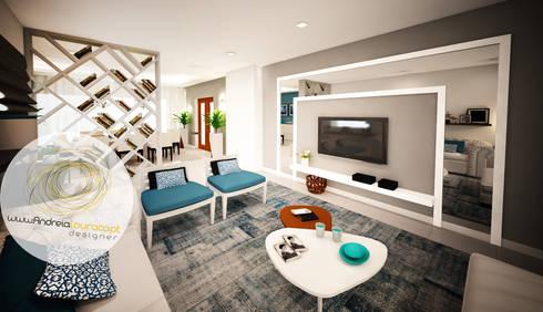 Sala azul: Salas de estar modernas por Andreia Louraço - Designer de Interiores (Contacto: atelier.andreialouraco@gmail.com)