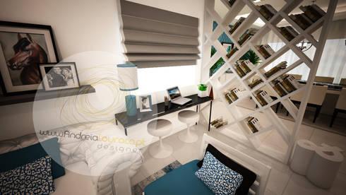 Sala azul:   por Andreia Louraço - Designer de Interiores (Contacto: atelier.andreialouraco@gmail.com)