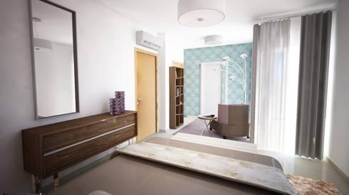 Projecto de Decoração - Suite - by Andreia Louraço Design e Interiores: Quartos modernos por Andreia Louraço - Designer de Interiores (Contacto: atelier.andreialouraco@gmail.com)