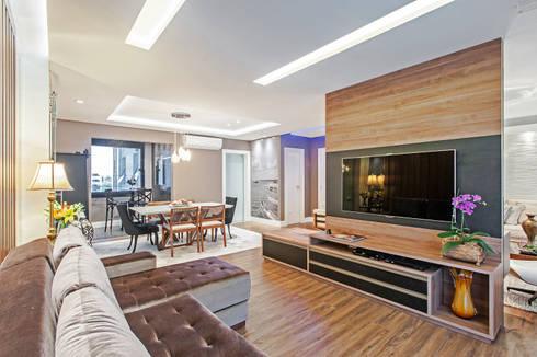 Apartamento 601: Salas multimídia modernas por Patrícia Azoni Arquitetura + Arte & Design