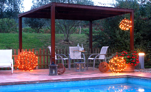 bolas decorativas naturales con luz led en la prgola jardn de estilo de