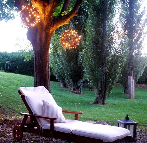 bolas decorativas naturales con luz led en el jardn jardn de estilo de