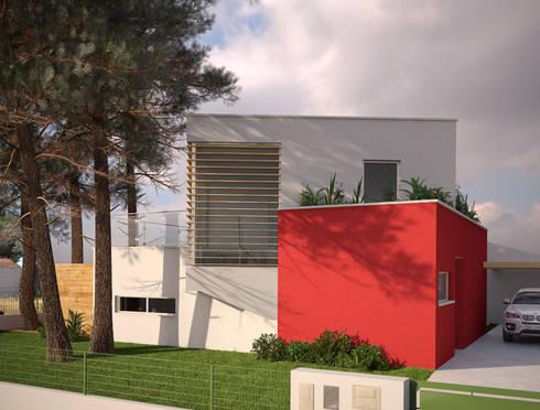 Alçado Principal da Moradia: Casas modernas por Miguel Ferreira Arquitectos