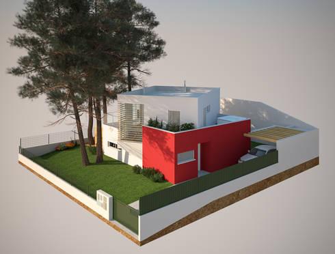 Alçado Lateral Direito: Casas modernas por Miguel Ferreira Arquitectos