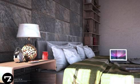 Proyectos Interiorismo: Recámaras de estilo moderno por Seven Arquitectos