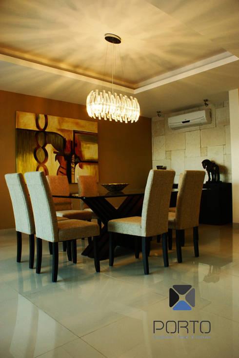 """proyecto residencial """"Montebello"""": Comedores de estilo moderno por PORTO Arquitectura + Diseño de Interiores"""