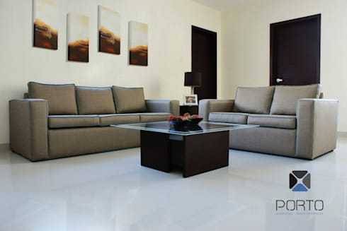 proyecto residencial <q>Montebello</q>: Salas de estilo moderno por PORTO Arquitectura + Diseño de Interiores