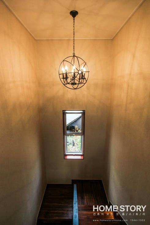 [상주전원주택 인테리어] 2세대가 함께 사는 프라이버시가 보호되는 세대분리형 ALC주택: (주)홈스토리의  복도 & 현관