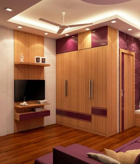 Smal Bedroom Design (TV &  WARDROBE VIEW) :   by Creazione Interiors