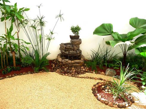 Foto final: Jardin tropical pequeño con fuente, piedras y bonsai.:  de estilo  por Zen Ambient