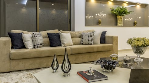 Detalhes Living: Salas de estar modernas por Marina Brasil Arquitetura