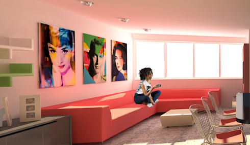 Apartamento POP Manzanares: Salas de entretenimiento de estilo moderno por OPFA Diseños y Arquitectura