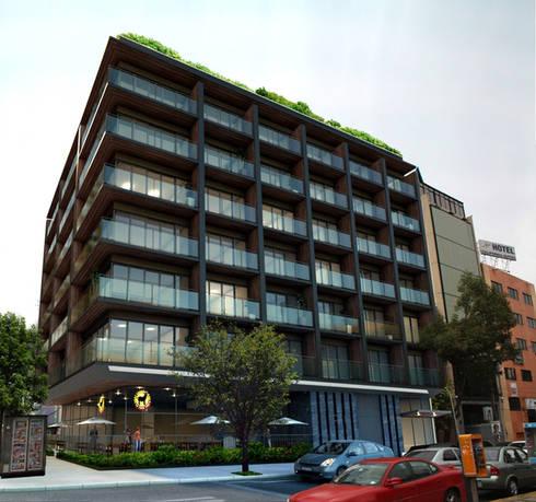 Edificio Cuauhtemoc- Boué Arquitectos : Balcones y terrazas de estilo moderno por Boué Arquitectos