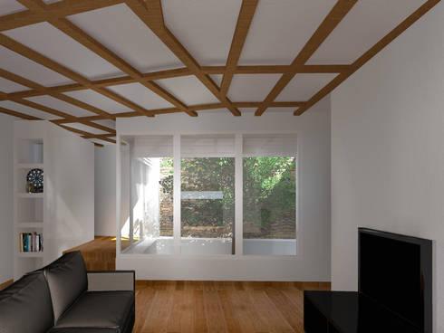 Sala de Estar e Pátio Interior: Salas de estar rústicas por LXL - Lisbon Lifestyle