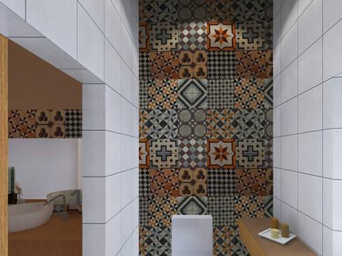 Instalação Sanitária: Casas de banho rústicas por LXL - Lisbon Lifestyle