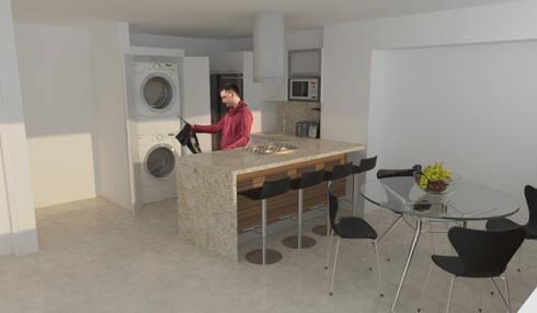 Cocina Apartamento Jardín de Los Olivos: Cocinas de estilo moderno por OPFA Diseños y Arquitectura