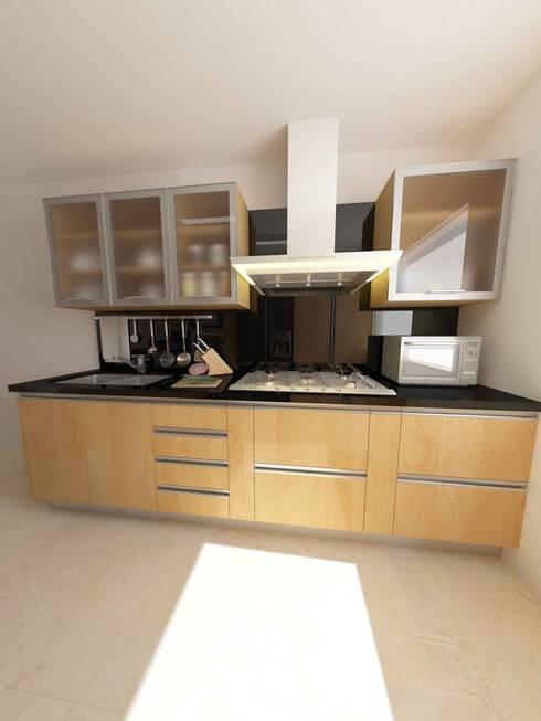 Cocinas Modelo Apartamentos EVC: Cocinas de estilo  por OPFA Diseños y Arquitectura