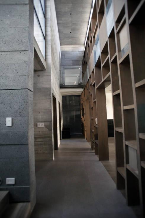Hall en planta baja de doble altura: Pasillos y recibidores de estilo  por WRKSHP arquitectura/urbanismo