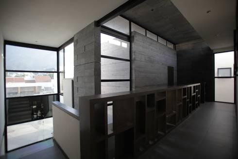 Hall doble altura planta alta: Pasillos y recibidores de estilo  por WRKSHP arquitectura/urbanismo