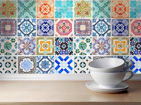 Traditional Spanish Tile Decals - Kitchen Backsplash Idea:   por MOONWALLSTICKERS.COM