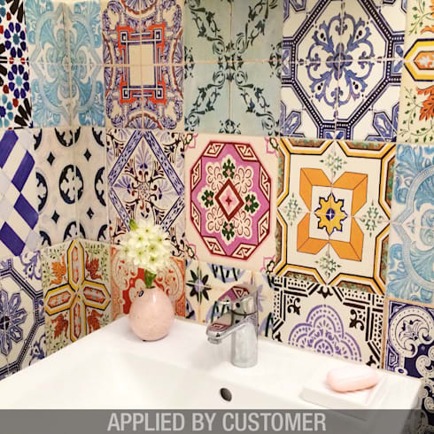 Traditional Spanish Tile Decals - Applied by Costumer:   por MOONWALLSTICKERS.COM