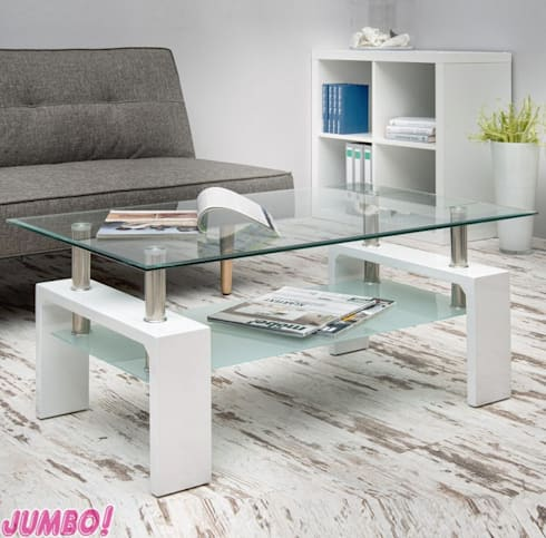 COUCHTISCH COFFEE IN WEISS HOCHGLANZ: modern Living room by Jumbo-Discount