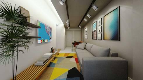 Sala de Estar e Jantar: Salas de estar industriais por fpr Studio