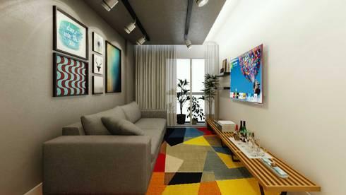 Sala de Estar: Salas de estar industriais por fpr Studio