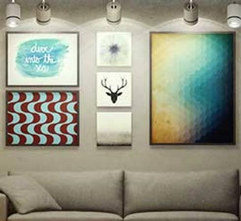 Detalhe Sala de Estar: Salas de estar industriais por fpr Studio