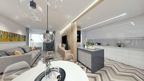 Sala de Estar e Jantar/Cozinha: Salas de jantar escandinavas por fpr Studio