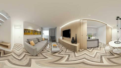 Sala Estar e Jantar Integradas: Salas de estar escandinavas por fpr Studio