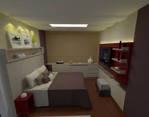 Quarto pequeno: Quartos  por Duecad - Arquitetura e Interiores