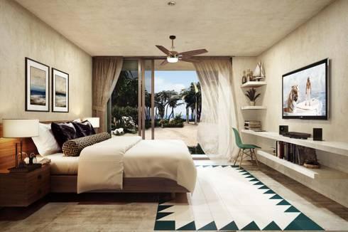 Villas Santa Clara: Recámaras de estilo moderno por TNGNT arquitectos
