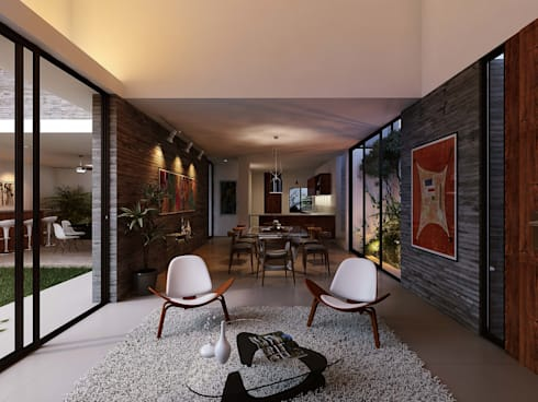 Casa RP: Salas de estilo moderno por TNGNT arquitectos