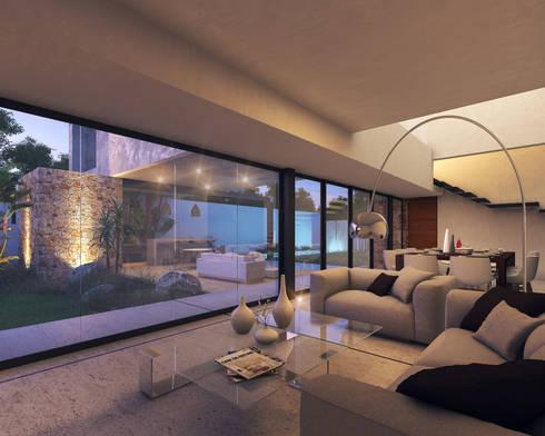 Casa MO: Salas de estilo moderno por TNGNT arquitectos