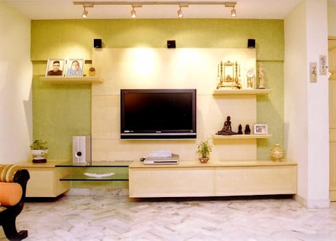 Apartment: modern Living room by NAMAN INTERIORS - Turnkey Interior Contractors