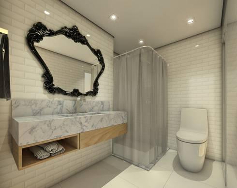 Banho social:   por Almeida Arquitetos