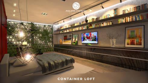 Container Loft: Quartos  por Philippe Pinheiro