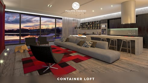 Container Loft: Salas de estar industriais por Philippe Pinheiro