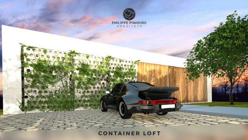 Container Loft: Casas industriais por Philippe Pinheiro