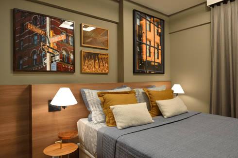 Apartamento pequeno – 43m²: Quartos  por Moreno e Brazileiro   Arquitetos