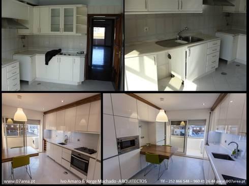 o antes e o depois...: Cozinhas minimalistas por AreA7
