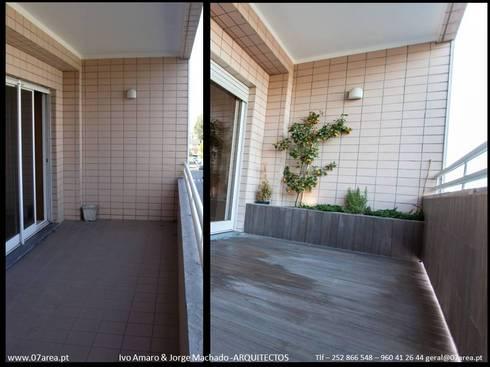 restauro de Apart. – Arqtos Ivo Amaro @ Jorge Machado: Jardins de Inverno minimalistas por AreA7