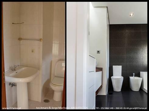 restauro de Apart. – Arqtos Ivo Amaro @ Jorge Machado: Casas de banho minimalistas por AreA7
