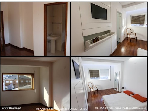 restauro de Apart. – Arqtos Ivo Amaro @ Jorge Machado: Quartos minimalistas por AreA7