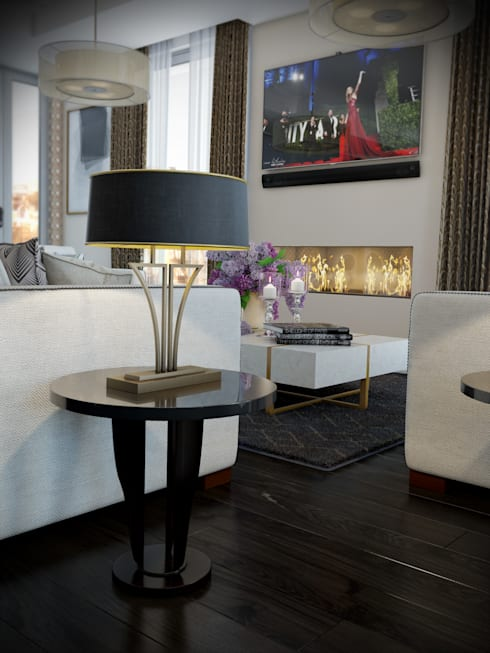 London Penthouse: Salas de estar clássicas por RIP3D ARCHVIZ
