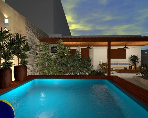 Espaço Gourmet, piscina e fachada – Residência RJ: Piscinas modernas por Konverto Interiores + Arquitetura